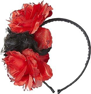 Widmann 04131 Blumen Haarreif, Unisex – Erwachsene, Schwarz/Rot, One Size Einheitsgröße