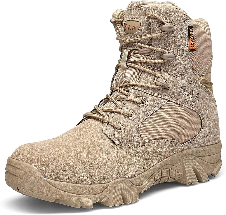 hongrenamz Hiking Boots Mens Womens Walking Backpacking Shoes Outdoor Lightweight High Rise Trekking Climbing Shoes Lace-Up Camping Biking Sports Shoes Sand-EU40/US7.5