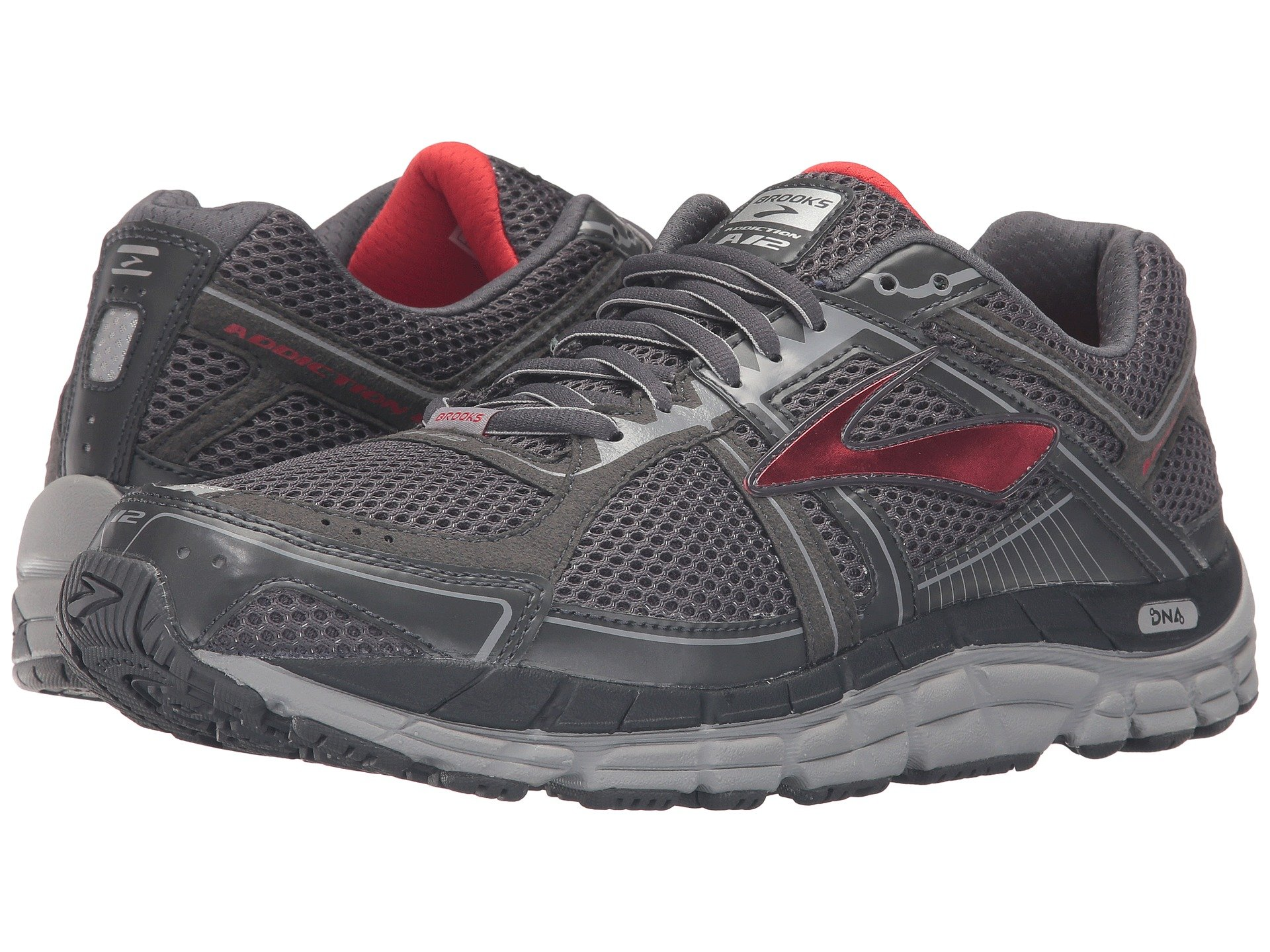 Brooks Addiction  Men S Shoes Anthracite Red Silver Size