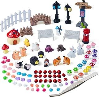Zealor 100 Pieces Miniature Ornaments Kit for DIY Fairy Garden Dollhouse Decoration