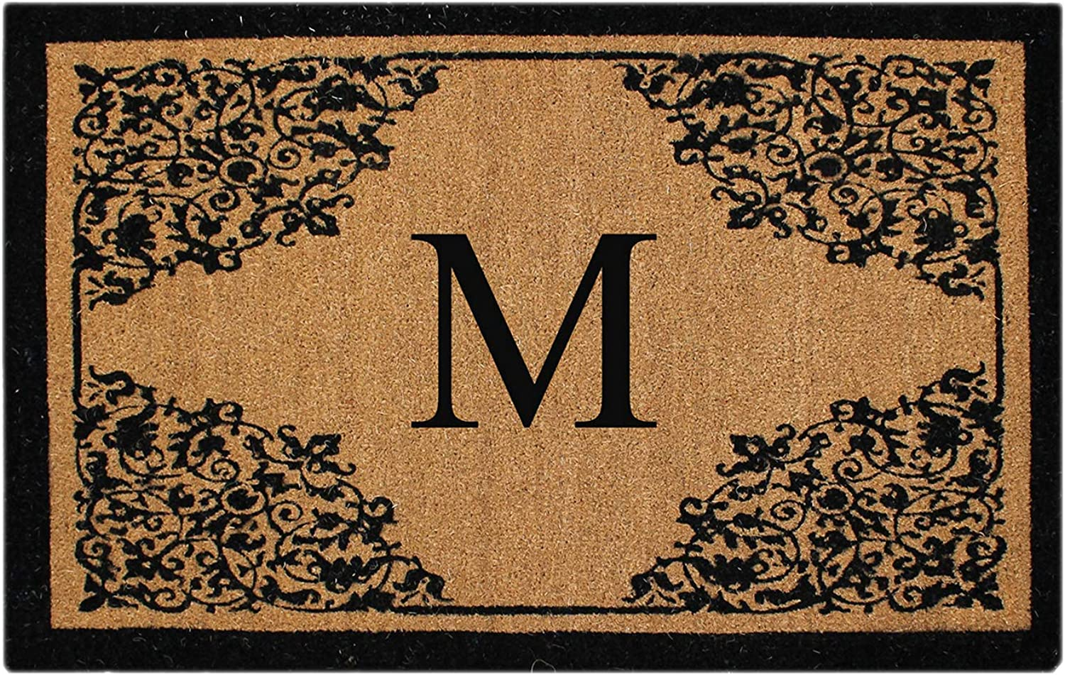 A1 HOME COLLECTIONS PT4013-MA1HC First Impression Monogram Hand Crafted by Artisans Floral Large Doormat, 30  x 48 , Beige Black