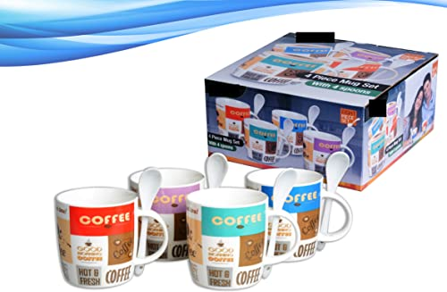 8 Piece Ceramic Deluxe 12oz. Coffee/Tea Mugs Set