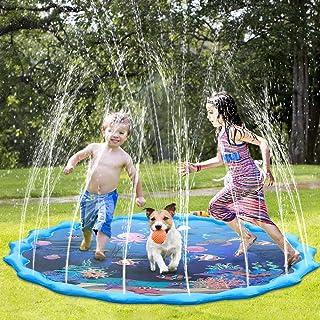 Splash Pad,Juego de Salpicaduras y Salpicaduras, Almohadilla de Aspersión Alfombra Juegos Piscina, para Niños de 2 3 4 5 6 Años y Jardin Fiesta Al Aire Libre de 170cm