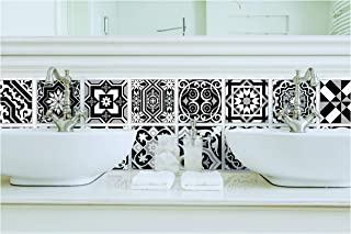 TIVA DESIGN Peel and Stick Wall Tile Sticker Art Kitchen Eclectic Set of 24 Stickers 4x4 Inches - (Black & White)