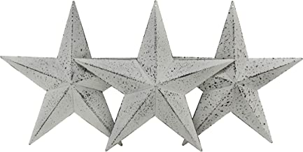 CVHOMEDECO. Country Rustic Antique Vintage Gifts Metal Barn Star Wall/Door Decor, 8-Inch, Set of 3. (Whitewash)