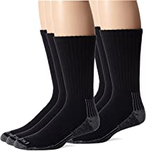 Dickies Men's Heavyweight Cushion Compression Work Crew Socks, Black, 6 Pair, Size 6-12