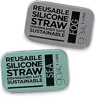GoSili X-Long Straw Tins, 2pk, Sea/Fog