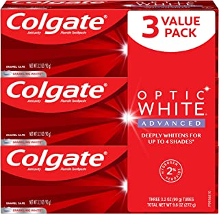 Colgate Optic White Advanced Teeth Whitening Toothpaste, Sparkling White - 3.2 Ounce (3 Pack)