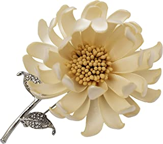 NhanDo Handmade Fabric Daisy Flower Pin Brooch Beige Flower Brooch Pin for Women and Men, Floral Brooch Pin for Wedding, P...