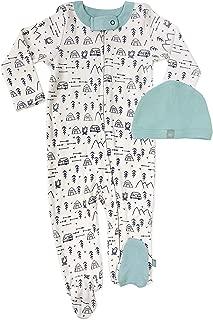 Finn + Emma 2 Piece Organic Cotton Baby Set - Footie & Hat - White Mountains, 3-6 Months