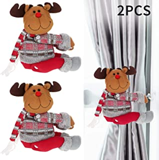 2 Pieces Christmas Curtain Buckles Santa Claus Curtain Buckle Holder Cute Snowman Elk Curtain Tiebacks for Xmas Home Decor Window Accessories (Elk)