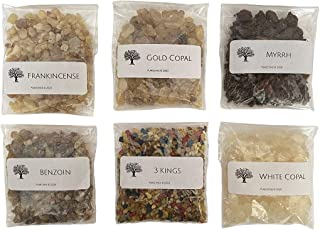 Resin Incense Variety Sampler Set of 6 | 1 oz. Resealable Bags of Frankincense, Myrrh, Benzoin, White & Gold Copal, 3 Kings