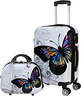 World Traveler Black and White Butterfly 2-Piece Carry-on Spinner Luggage Set