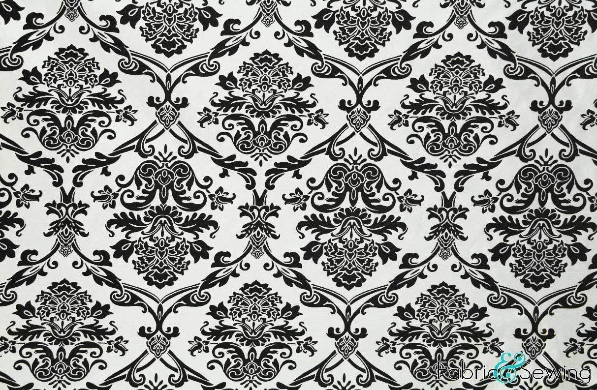 White And Black Damask Print Upholstery Fabric Polyester Heavy Weight 58