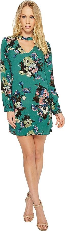 American Rose Zoey Long Sleeve V-Neck Floral Dress