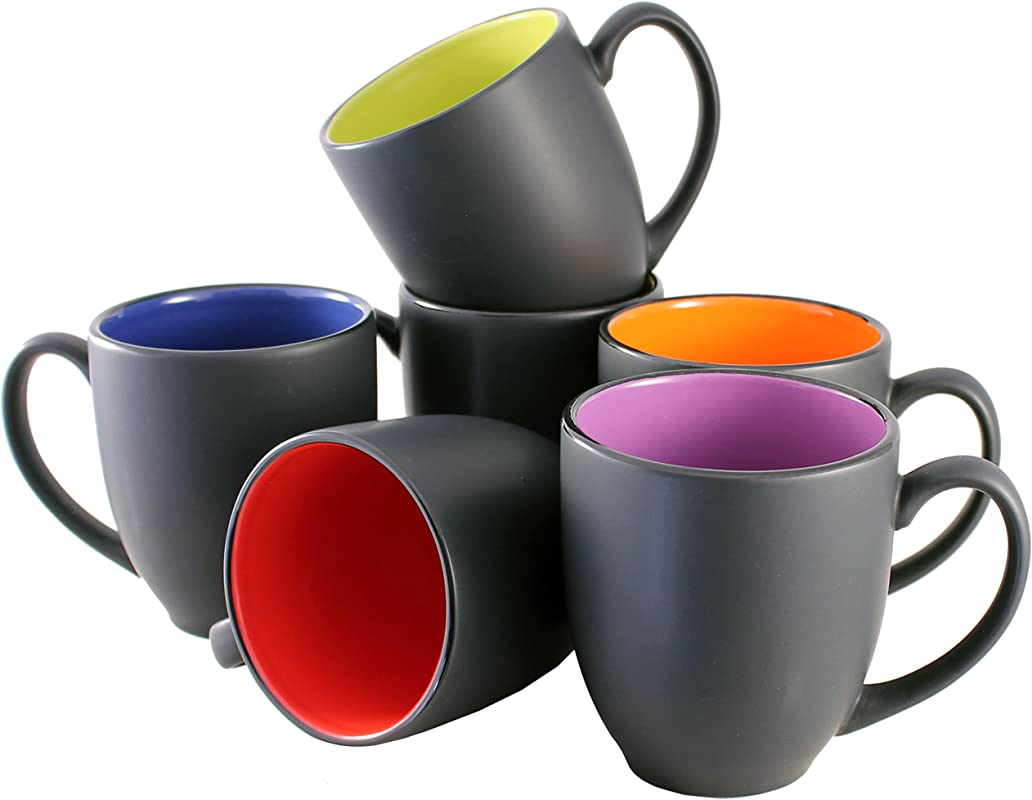 ITI Ceramic Bistro Hilo Coffee Mugs With Pan Scraper 14 Ounce 6 Pack Assorted