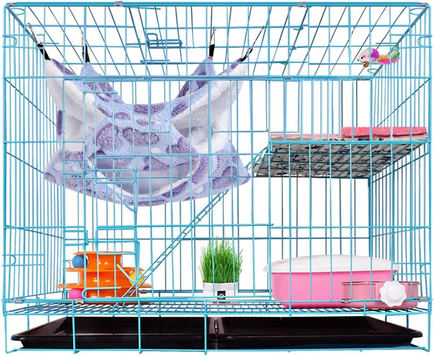 Petmolico Small Pet Cage Hammock Warm Plush Triple BunkBed Hanging Hammock Bed Cage Accessories for Parrot Sugar Glider Ferret Squirrel Hamster Rat Bedding Hideout Playing Sleeping