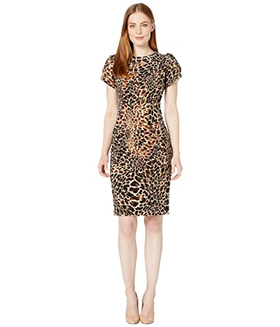 Calvin Klein Tulip Sleeve Animal Print Sheath Dress (Camel Multi) Women