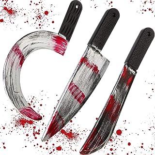 3 Pieces Halloween Knife Bloody Fake Knife Halloween Machete Toy Plastic Halloween Butcher Bloody Sickle Weapon Prop Cospl...