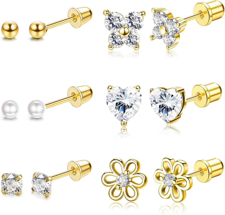 Udalyn 6 Pairs Hypoallergenic Screwback Earrings Tiny Pearl Ball Heart Butterfly Flower CZ Stud Earrings Set Stainless Steel Stud Earrings for Women 18G-20G