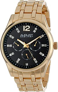 August Steiner Men's Dress Watch - Sunburst Black Dial with Crystal Hour Markers - Day of Week, Date, and 24 Hour Subdial on Yellow Gold ToneStainless Steel Bracelet - AS8068