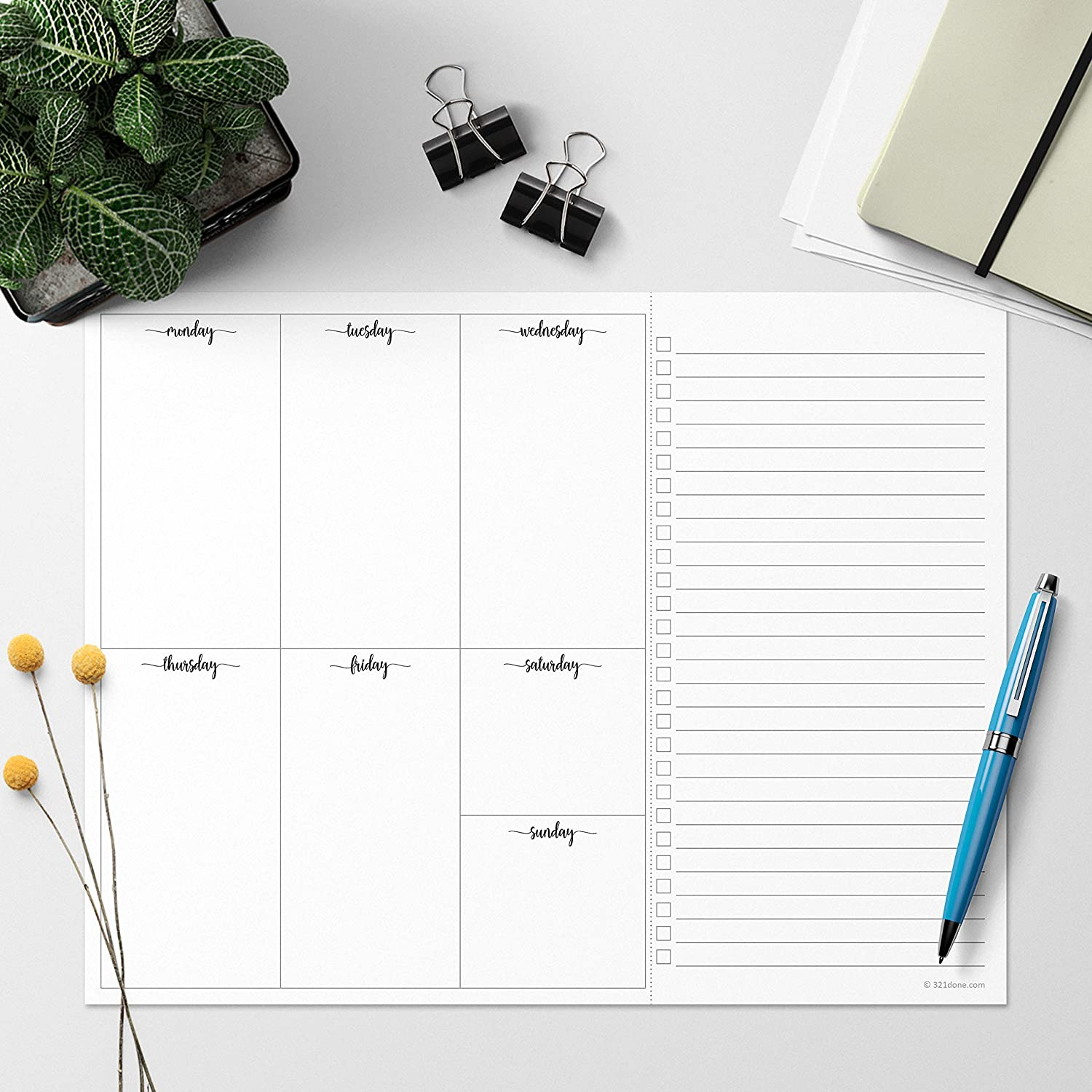 50 Sheets 8.5 x 11 Made in USA Perforated to Do Memo Pad 321Done Weekly Plan Checklist Notepad Minimalist