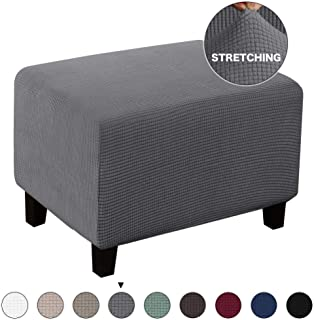 Turquoize Stretch Ottoman Cover Ottoman Slipcover Sofa Cover Footstool Protector Storage Ottoman Covers Furniture Protector Soft Rectangle slipcover with Elastic Bottom (Ottoman, Gray)