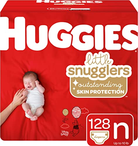 Huggies Little Snugglers Baby Diapers, Size Newborn, 128 Ct
