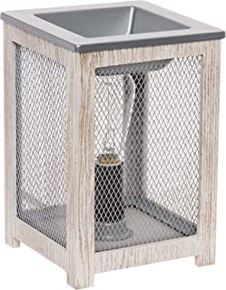 Mindful Design Farmhouse Edison Bulb Wax Warmer - Wood Frame Freshener Wax Melter (White)