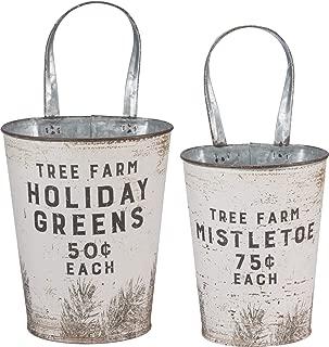 Primitives by Kathy Rustic Wall Buckets, Tree Farm Holiday Greens