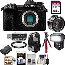 Panasonic Lumix DC-G9 4K Wi-Fi Digital Camera Body with 35mm Lens + 64GB Card + Battery + Backpack + Tripod + Flash + Kit