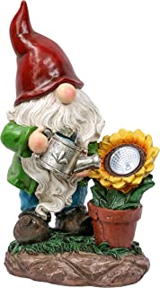 TERESA'S COLLECTIONS 11.4 inch Watering Sunflower Garden Gnome Statue with Solar Lights, Funny Outdoor Gnomes Garden Decor...