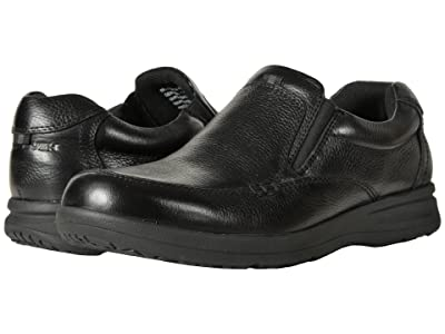 Nunn Bush Cam Moc Toe Slip-On (Black Tumbled Leather) Men