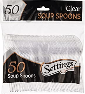 Settings Clear Plastic Cutlery Disposable Tea Spoons 50 Party Spoons Per Package 1 Pack Spoons (50) transparent SCS-50