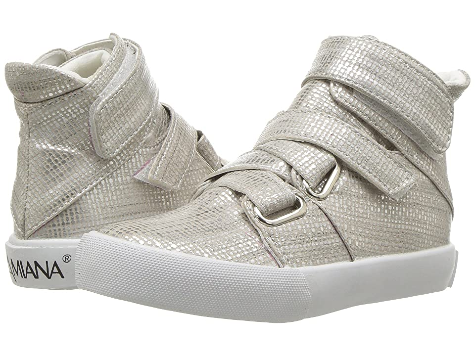Image of Amiana 15-A5468 (Toddler/Little Kid) (Silver Burlap) Girl's Shoes