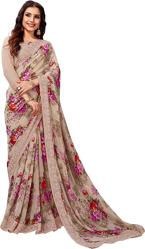 Indian Shangrila Designer Women's Digital Printed Georgette Saree With Blouse Piece Saree
