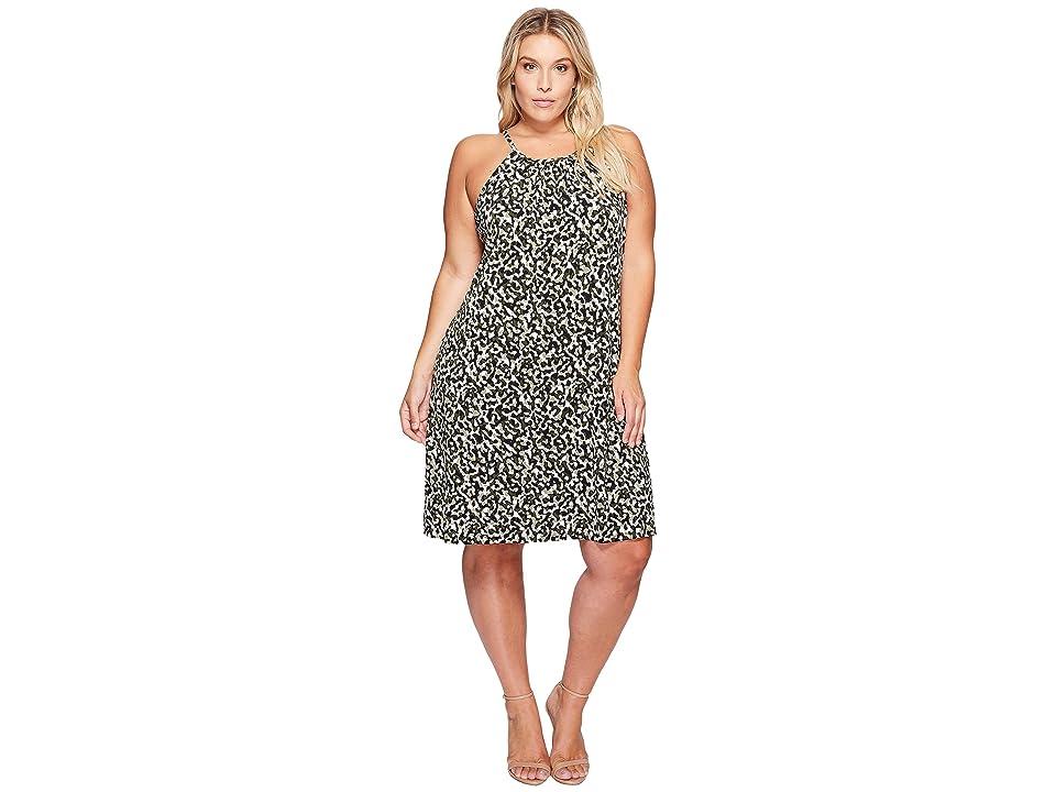 MICHAEL Michael Kors Plus Size Camo MJ Halter Dress (Safari Green) Women