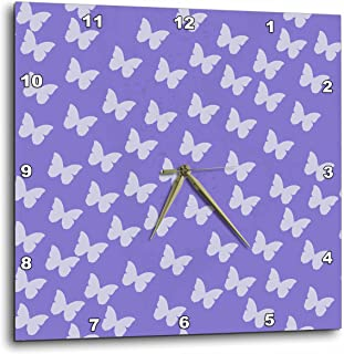 3dRose DPP_52741_1 Purple and Lilac Butterflies Whimsical Art Nature Wall Clock, 10 by 10-Inch