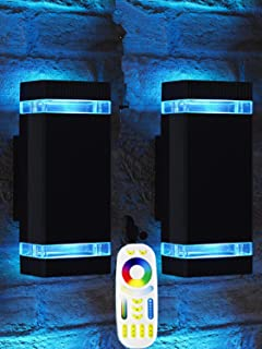 Bling Mi.Light RF Remote Control RGB Colour Changing Lighting LED Double Up and Down Outdoor Wall Light,White Temperature 2700k- 6500k RGB+CCT Exterior Wall Lighting (2 Pack)