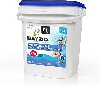 Höfer Chemie BAYZID 5 en 1- Pastilles de chlore multifonction de 20 g- 1 x 5kg - Pour la piscine - Réunissent 5 produits e...