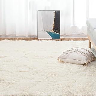 Mensu ラグ シャギーラグ カーペット 絨毯 滑り止め 洗える ラグマット ふわふわ 130x190cm ホットカーペット 抗菌 防臭 防ダニ オールシーズン 床暖房対応 ベージュ