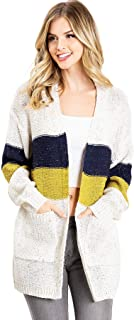 Lana Roux Women's Juniors Color Block Knit Cardigan with Pockets