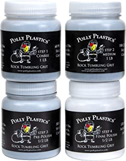 Polly Plastics Rock Tumbler Refill Grit Media Kit (3 pounds)   4-Steps For Tumbling Stones