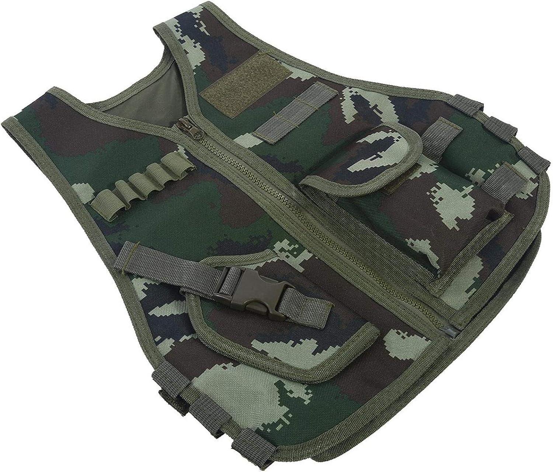 Gilet r/églable pour Enfant Portable Gilet de Camouflage pour Enfants /à Poches Multiples Germerse Gilet de Combat pour Enfants