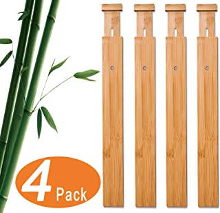 4 Pack Bamboo Drawer Dividers, Expandable Drawer Separators (17.5 to 21.65 in), Perfect Adjustable Wooden Drawer Dividers for Kitchen, Bedroom, Bathroom & Office