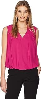 Amazon Brand - Lark & Ro Women's Sleeveless Pleated V-Neck Blouse with Tucked Hem