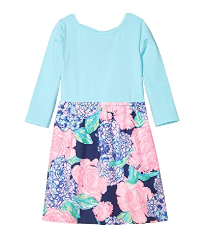 Lilly Pulitzer Kids Mochi Dress (Toddler/Little Kids/Big Kids) (High Tide Navy Hey Hey Bouquet) Girl