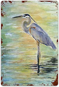 SIONOLY Metal Signs,Great Blue Heron Malibu Lagoon shorebird Blue Heron Lake Water Nature,Tin Sign Wall Iron Painting Wall Decor Art Retro Plaques Poster Hanging Decoration for Indoor Outdoor 8