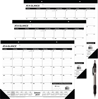at-A-Glance Monthly Desk Pad Calendar, Ruled Blocks, January 2019 - December 2019, 22
