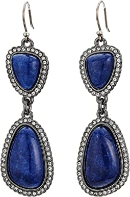 Lucky Brand - Deep Blue Pave Double Drop Earrings